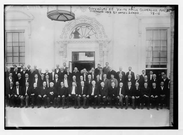 Group picture of governors at White House Conference, copyright Harris & Ewing, 1908, Washington / Harris and Ewing
