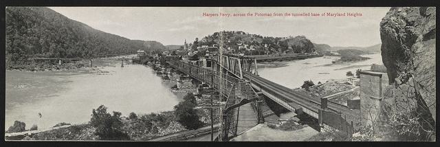 Harpers Ferry, across the Potomac from the tunnelled base of Maryland Heights