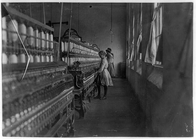Hattie Hunter, spinner in Lancaster Cotton Mills, S.C. 52 inches high, worked in mill for 3 years. Gets 50 cents a day. Dec. 1, 1908.  Location: Lancaster, South Carolina. / L.W. [Hine]
