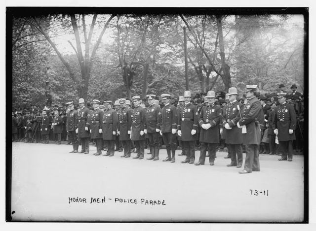 Honor men in Police parade, New York
