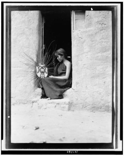 Hopi basket weaver / Frederick I. Monsen photo.