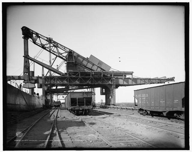 Hulett machine unloading ore, Pennsylvania [Railroad] dock, Buffalo, N.Y.