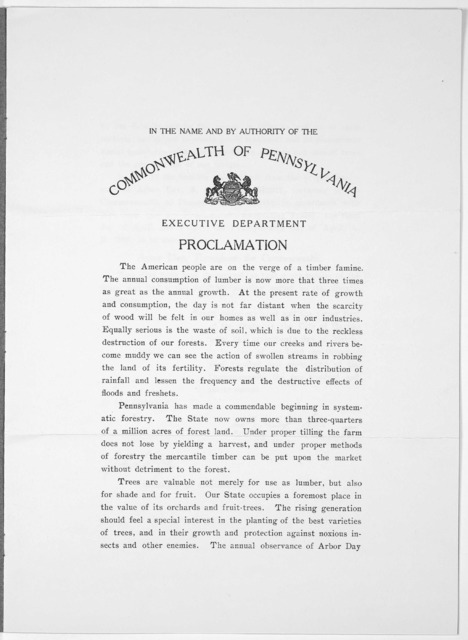 In the name and by authority of the Commonwealth of Pennsylvania. Executive department. Proclamation ... do hereby, in accordance with law, issue my proclamation, designating Friday, the third day of April, and Friday, the twenty-fourth day of A