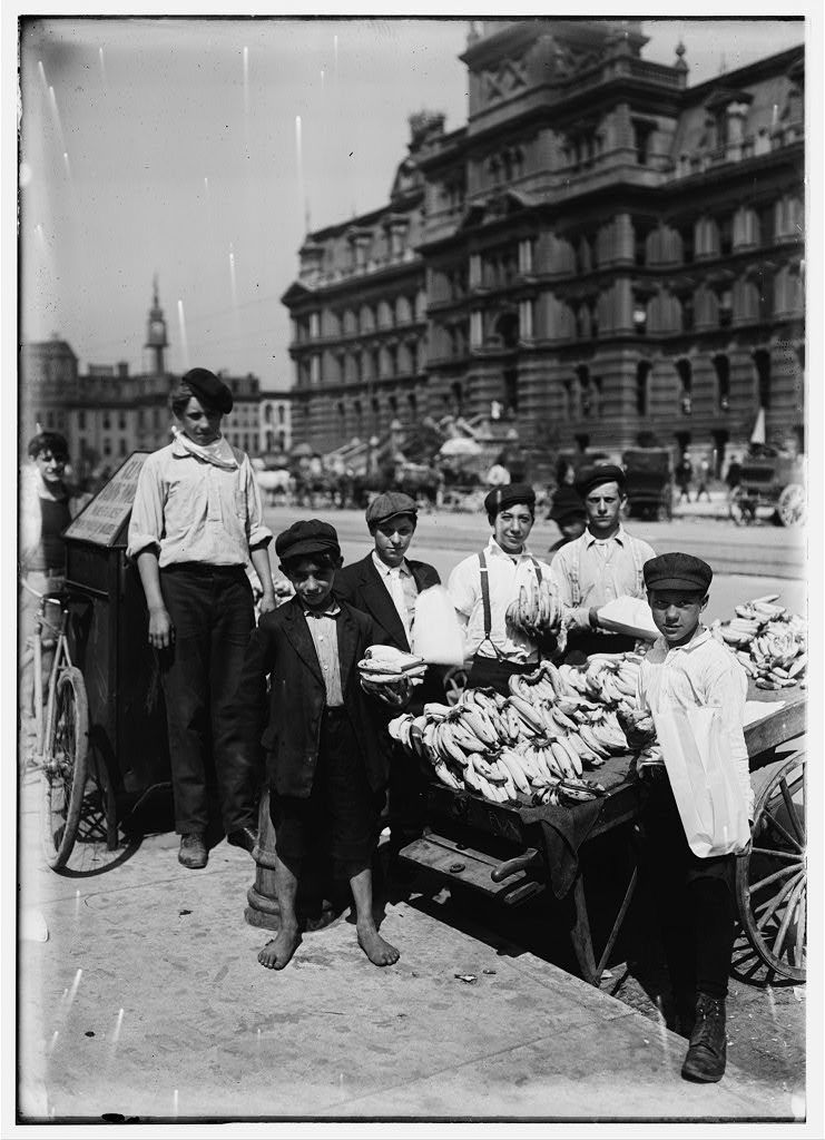 Indianapolis Fruit Venders, Italian Boys, Aug., 1908. Wit., E. N. Clopper.  Location: Indianapolis, Indiana.