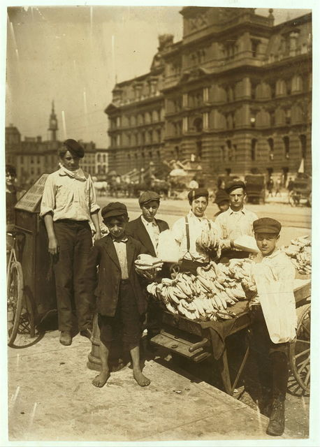 Indianapolis Fruit Venders, Italian Boys, Aug., 1908. Wit., E. N. Clopper.  Location: Indianapolis, Indiana.