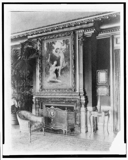 "[Interior with Bouguereau's ""Flight of Love"" painting over fireplace, in home of Edmund Cogswell Converse, Greenwich, Connecticut]"