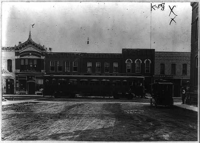 Interurban car on Onondago Street, Ames, Iowa, 1908