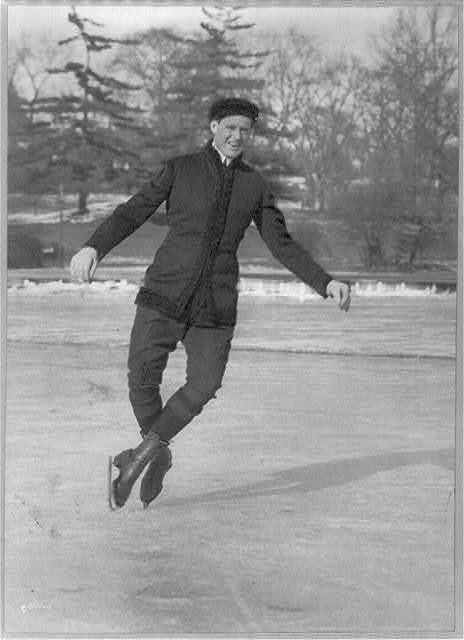 [Irving Brokaw ice skating: doing a double toe pirouette on Central Park Lake]