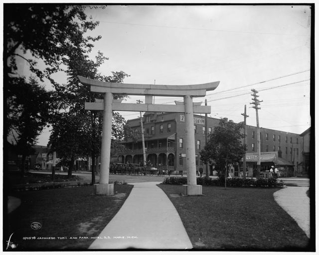Japanese torii and Park Hotel, S.S. Marie, Mich.