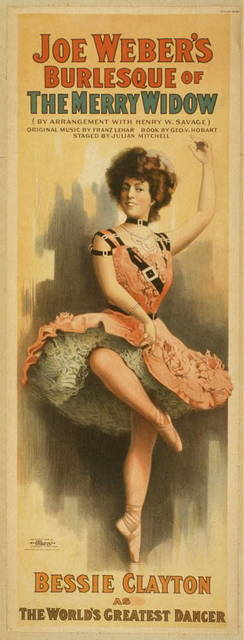Joe Weber's burlesque of The merry widow by arrangement with Henry W. Savage ; original music by Franz Lehar ; book by Geo. V. Hobart ; staged by Julian Mitchell.