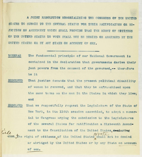 Joint Resolution Memorializing Congress to submit suffrage amendment to states for ratification