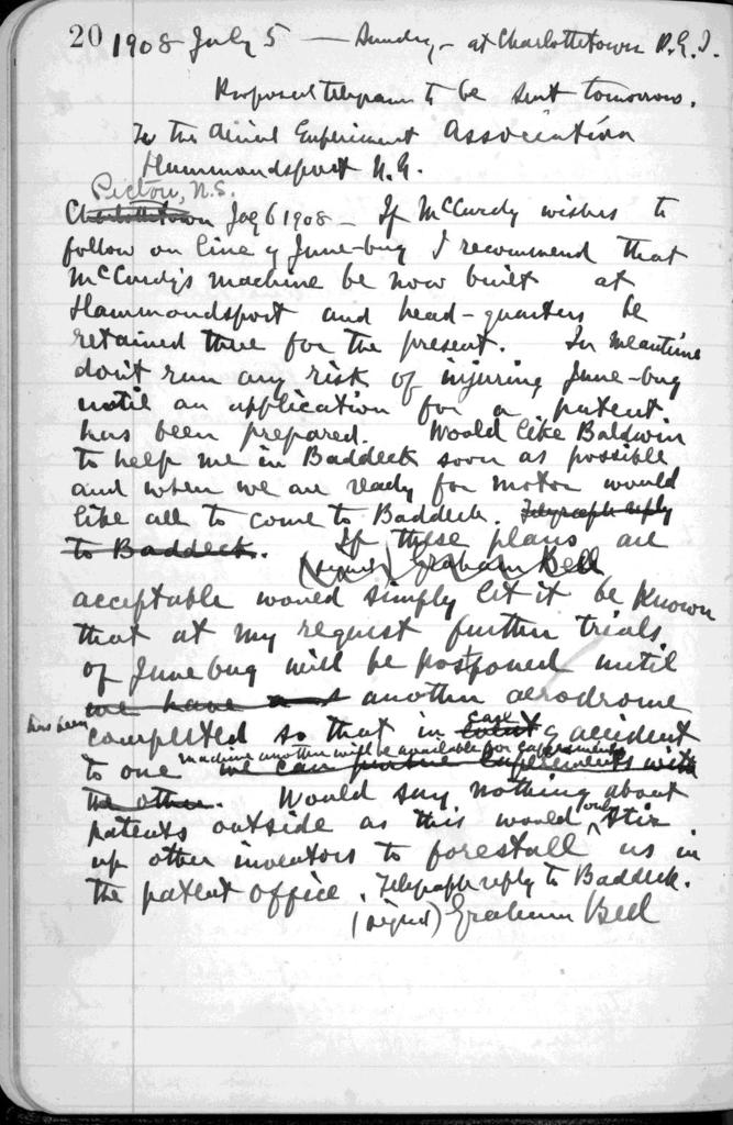 Journal by Alexander Graham Bell, from June 18, 1908 to July 7, 1908