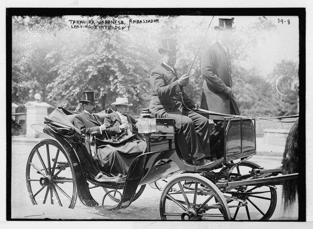K. Takahire, Japanese ambassador, leaving State Dept. in carriage with unidentified gentleman, Washington