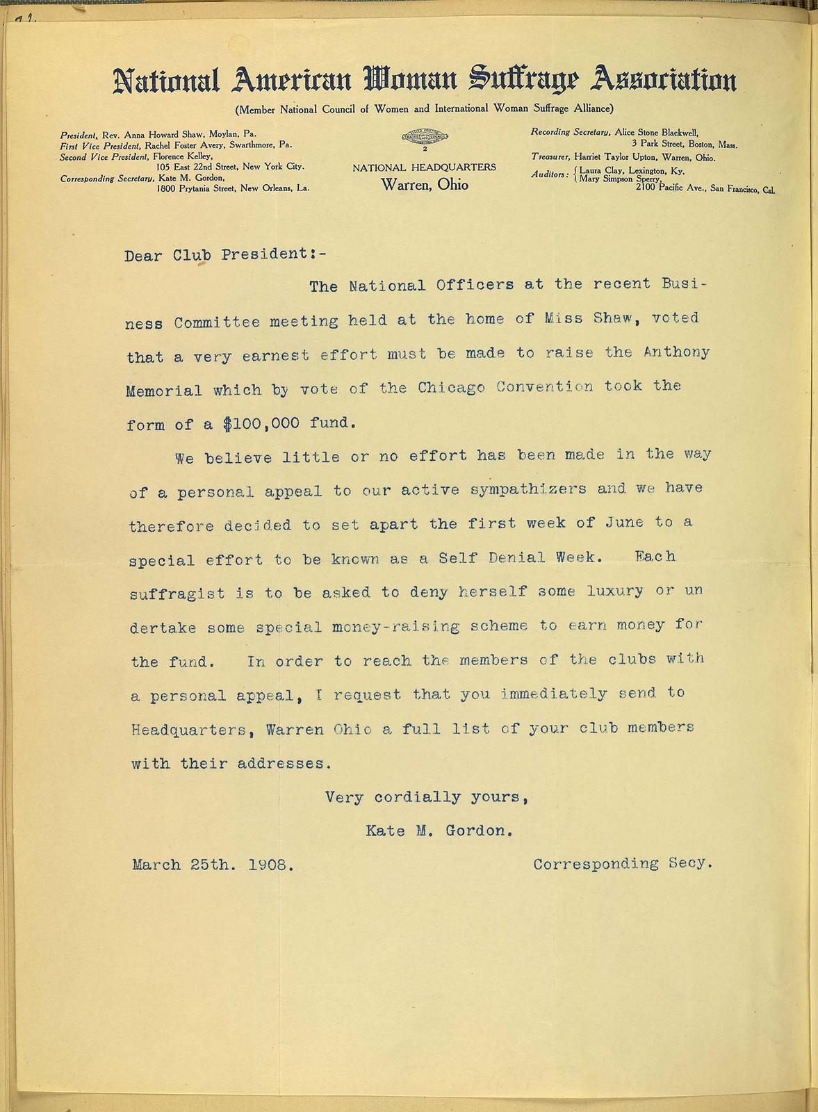 Kate M. Gordon, National American Woman Suffrage Association Corresponding Secretary, to Club President