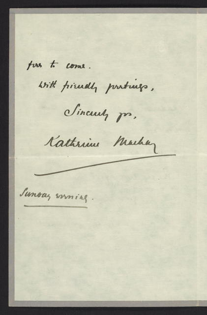 Katherine Mackay to Harriot Stanton Blatch