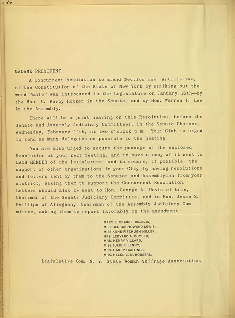 Legislative Committee, New York State Woman Suffrage Association, Mary Craigie, Chairman, to local political equality club presidents