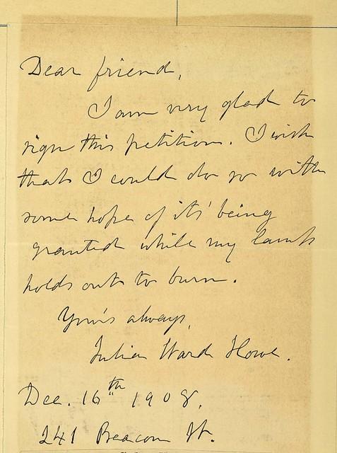 Letter from Julia Ward Howe