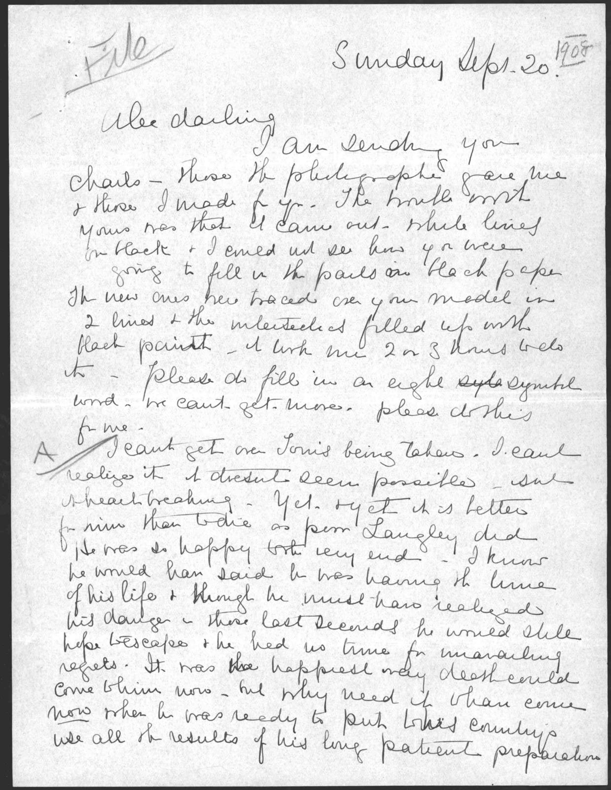Letter from Mabel Hubbard Bell to Alexander Graham Bell, September 20