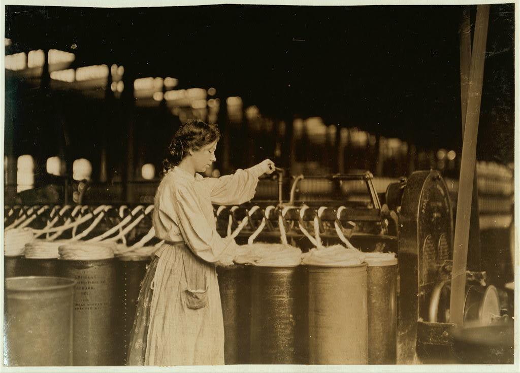 Lincoln Cotton Mill, Evansville, Ind. Girl at Slubber.  Location: Evansville, Indiana.