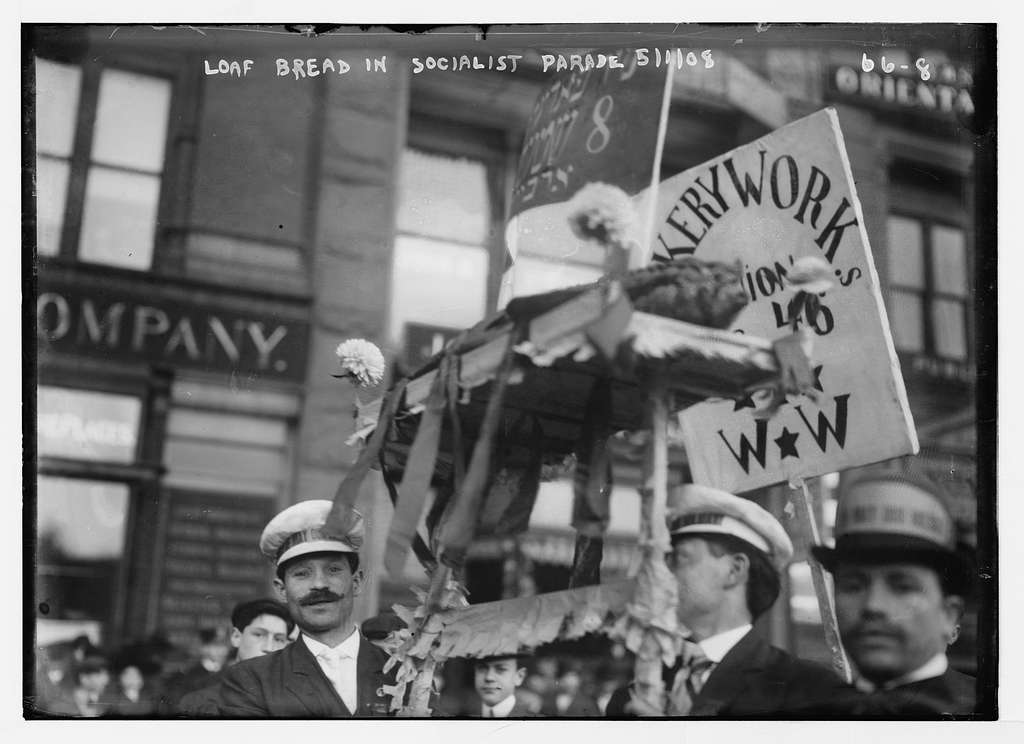 Loaf of bread float carried in Socialist Parade, New York