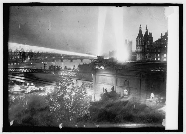 London searchlights, Thames River and Parliament Bldg.