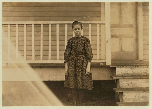 Maple Mill, Dillon, S.C. Etta Squires,--12 years old. Been in mill 3 years. Runs 5 sides. Mother was very proud of this. She own two houses and doesn't work in the mill herself.  Location: Dillon, South Carolina.