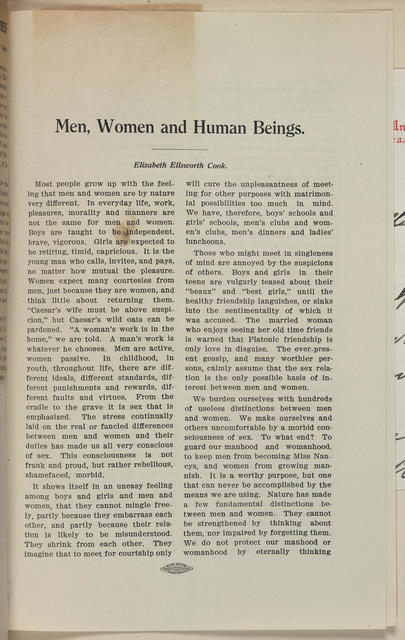 Men, Women and Human Beings by, Elizabeth Ellsworth Cook, winning oration for Woodford Prize