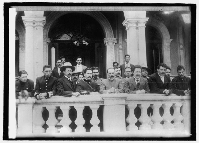 Mexico, Gov. Manuel Chas. & his aides on veranda of Terrazas home