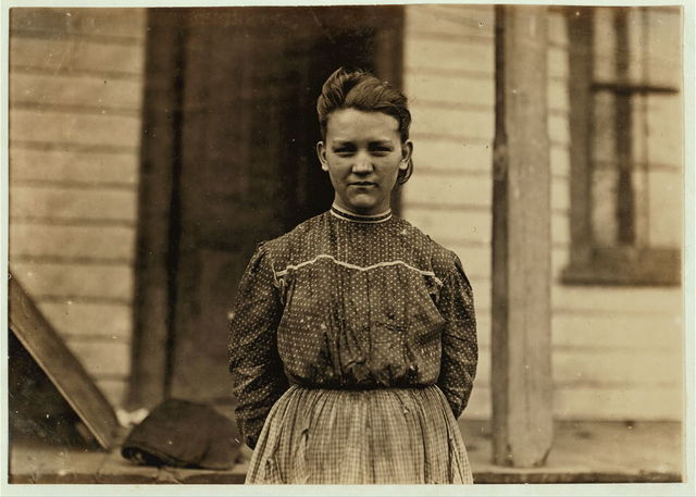 Minnie Love (see photo 327), Springstein Mills, Chester, S.C. Been in mill since 7 yrs. old. Witness Sara R. Hine.  Location: Chester, South Carolina.