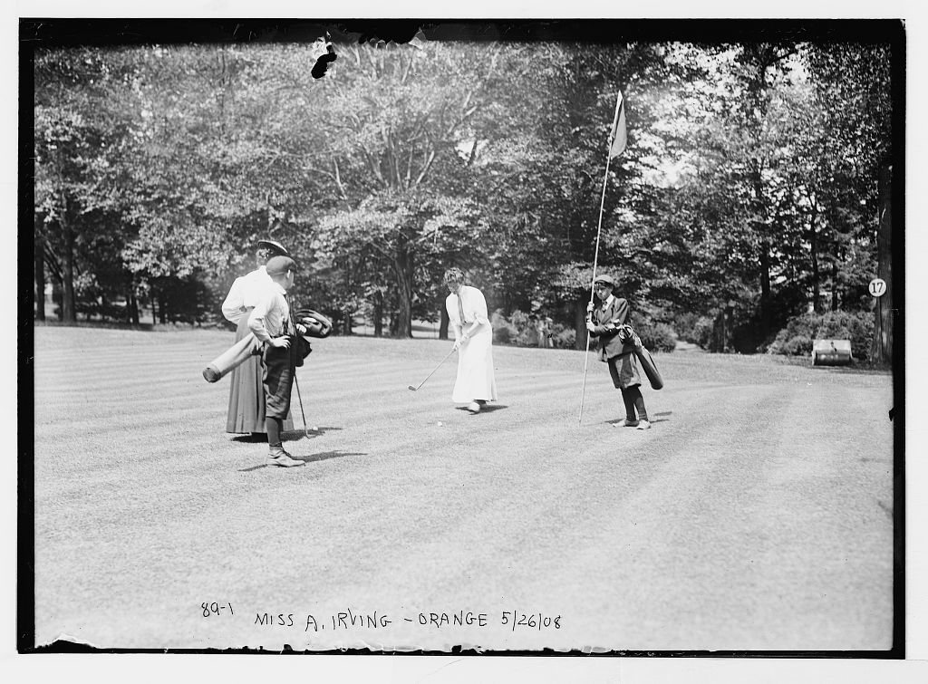 Miss A. Irving, Orange, playing golf, Essex Country Club golf tournament