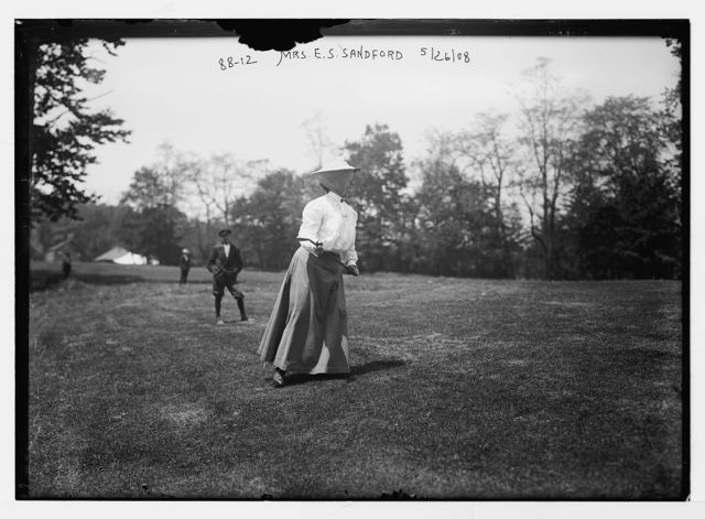 Mrs. E.S. Sandford, playing golf, Essex Country Club golf tournament