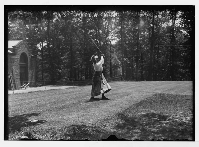 Mrs. L.W.Callan, playing golf, Essex Country Club golf tournament