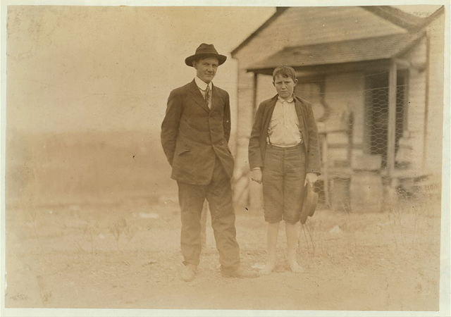 N. W. Bigham--In mill 5 years. (Boy) Brown Morison--In mill 2-1/2 years. 13 years old. Doffs--75 cents a day. Eureka Cotton Mills, Witness S.R. Hine.  Location: Chester, South Carolina.