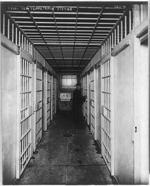 [New York City Police Dept. activities: cells in new Tenderloin station]