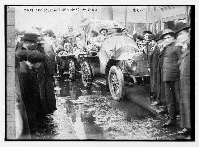New York-Paris race: Zust car followed by Thomas car at Utica, New York State