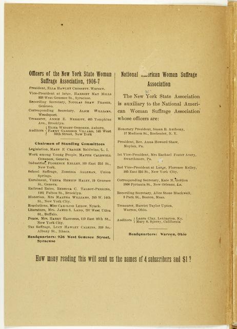 New York Suffrage Newsletter, editor Harriet May Mills