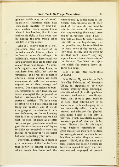 New York Suffrage Newsletter, editor Harriet May Mills