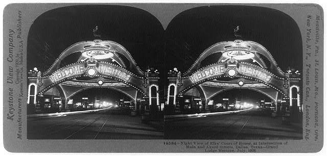 Night view of Elks' Court of Honor, at intersection of Main and Akard Streets, Dallas, Texas--Grand Lodge meeting, July 1908