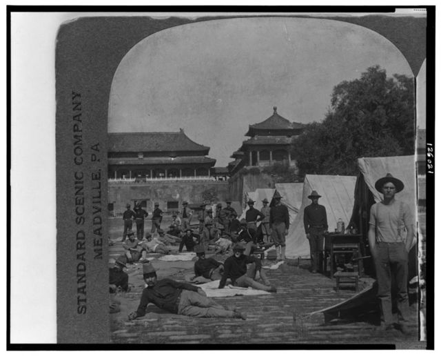 Ninth U.S. Infantry in Camp, in the court of the Forbidden City, Peking, China