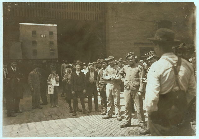 Noon Hour at an Indianapolis Meat Packing House. Aug., 1908. Wit., E. N. Clopper.  Location: Indianapolis, Indiana.