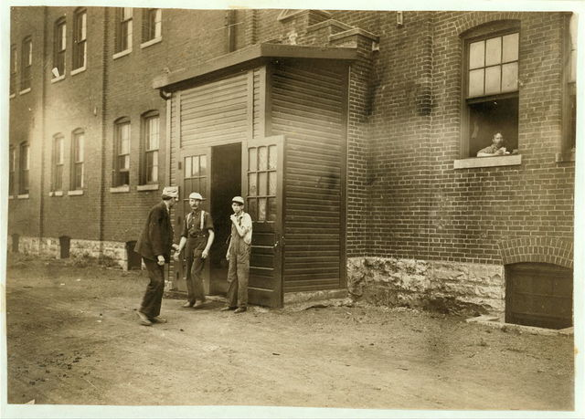 Noon Hour in a Furniture Factory, Indianapolis. Aug., 1908. Wit., E. N. Clopper.  Location: Indianapolis, Indiana.