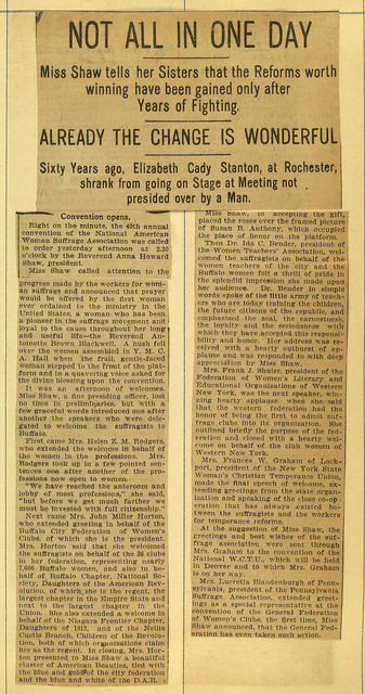 Not All in One Day: Anna Howard Shaw addresses National American Woman Suffrage Association Convention; page 3