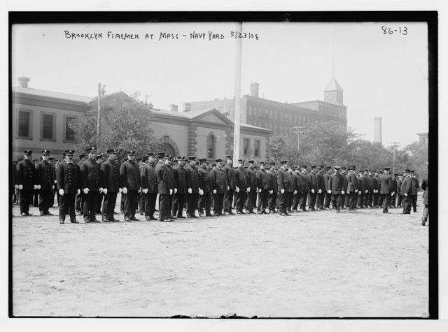 Open-air Mass, Brooklyn Firemen, Brooklyn Navy Yard, New York