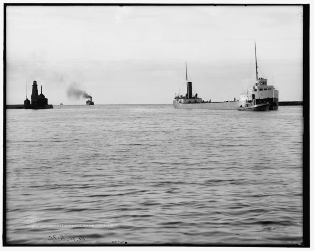 Ore steamer entering harbor, Cleveland, O[hio]
