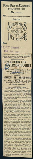 Other Press Notices of New York State Woman Suffrage Association Convention --Rochester, Buffalo, Lockport, Nyack, Syracuse Papers