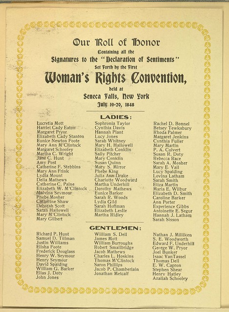 Our Roll of Honor. Listing women and men who signed the Declaration of Sentiments at first Woman's Rights Convention, July 19-20, 1848