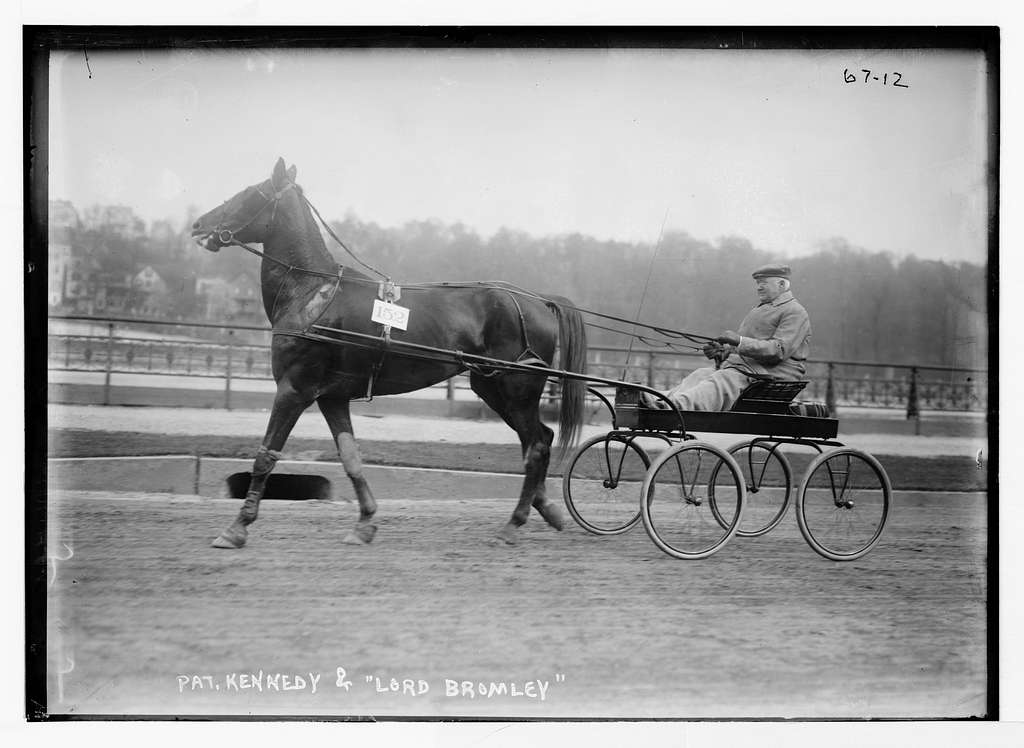 """Pat. Kennedy and trotter """"Lord Bromley"""", Speedway Parade"""