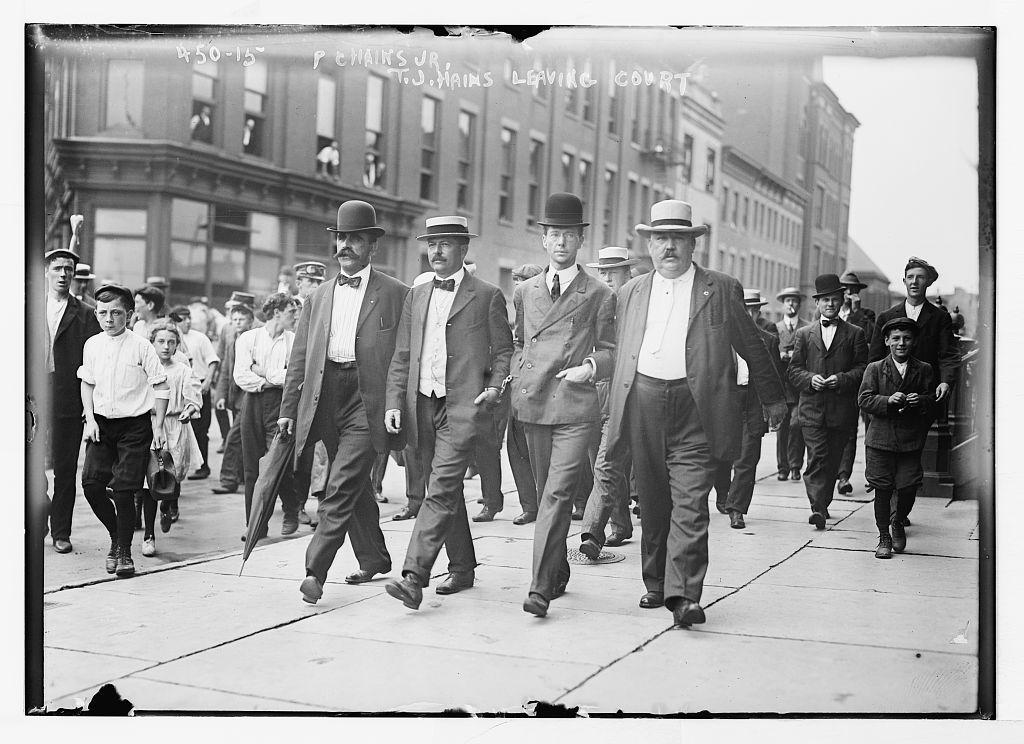 P.C. Hains Jr.,T.J. Hains, Jr. leaving court