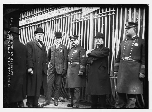 Police guarding [failed] Pati's bank, Elizabeth St. [New York City]