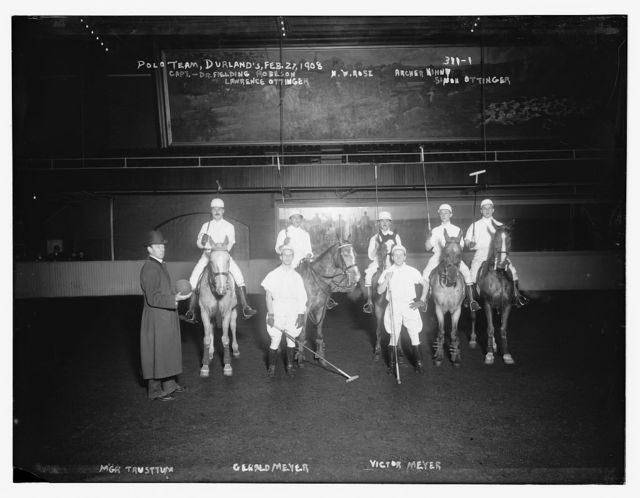 Polo Team, Durland's, 1908: Cpt. Dr. Fielding Robeson, N.W. Rose, Archer Kinney, Lawrence & Simon Ottinger, Mgr. Trusttum, Gerald & Victor Meyer